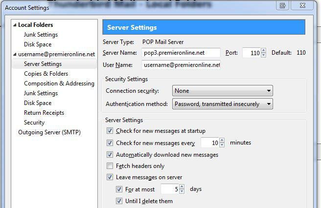 Email - Server Settings Image