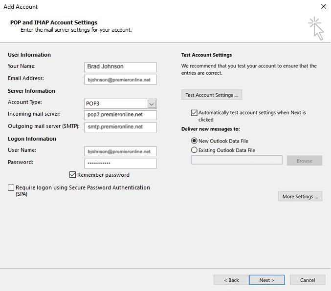 Email - Outlook Account More Settings Image