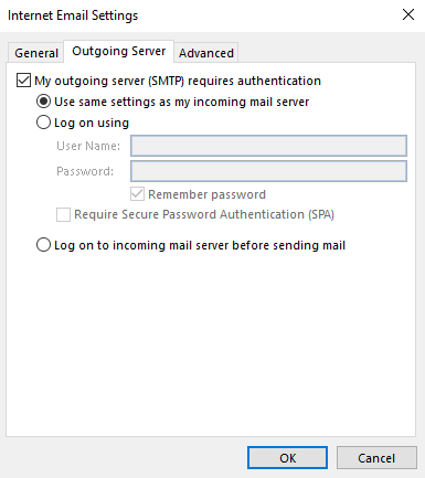 Email - Outlook Account Outgoing Server Image