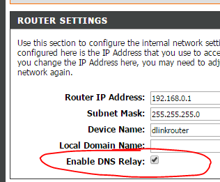 Enable DNS Relay Image